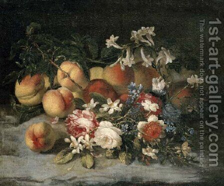 Roses, orange blossom and peaches by (after) Francesca Vicenzina - Reproduction Oil Painting
