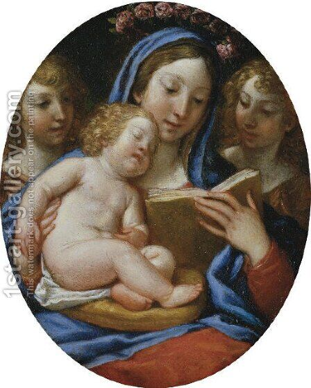 The Madonna and Child with Angels by (after) Francesco Albani - Reproduction Oil Painting