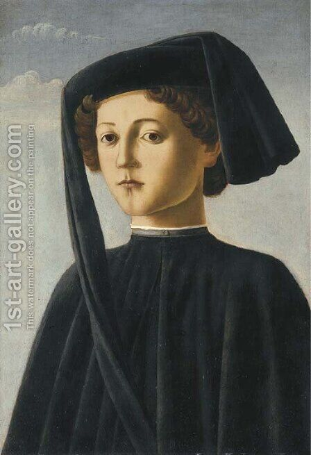 Portrait of a young gentleman by (after) Francesco Botticini - Reproduction Oil Painting