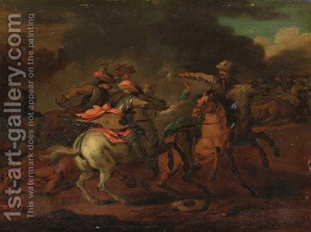 A cavalry skirmish by (after) Francesco Giuseppe Casanova - Reproduction Oil Painting
