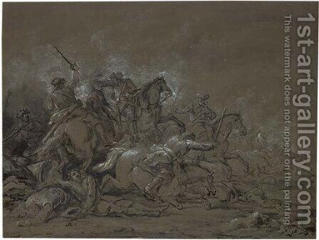 A cavalry skirmish 2 by (after) Francesco Giuseppe Casanova - Reproduction Oil Painting
