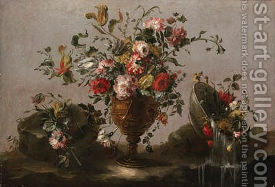 Parrot tulips, roses and other flowers in an urn, flowers in a bowl with water spilling out and a bunch of flowers on a rocky bank by (after) Francesco Guardi - Reproduction Oil Painting