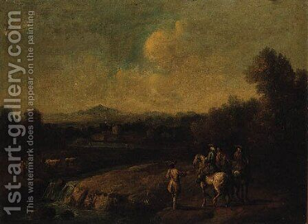 A wooded River Landscape with Huntsmen on a Track by (after) Francesco Simonini - Reproduction Oil Painting
