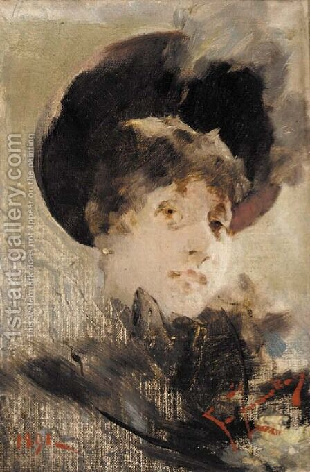 Portrait of a lady by (after) Franciszek Zmurko - Reproduction Oil Painting