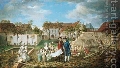 The grounds of a farmhouse with an architect showing his plans to an elegant family, builders nearby by (after) Francois Dumont - Reproduction Oil Painting