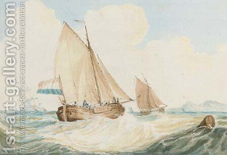 A Dutch kaag in heavy weather by (after) Francois Louis Thomas Francia - Reproduction Oil Painting