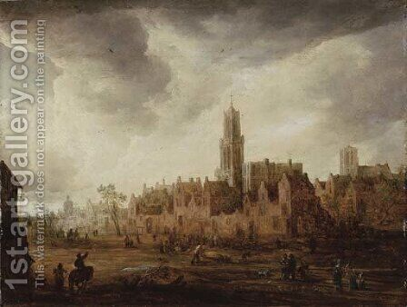 A view of Antwerp with townsfolk in the foreground by (after) Frans De Momper - Reproduction Oil Painting