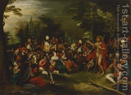 Saint John the Baptist preaching in the wilderness by (after) Frans II Francken - Reproduction Oil Painting