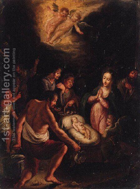 The Adoration of the Shepherds by (after) Frans II Francken - Reproduction Oil Painting