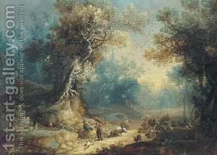 A wooded landscape with a shepherd and shepherdess at rest on a track by (after) Frans Christoph Janneck - Reproduction Oil Painting