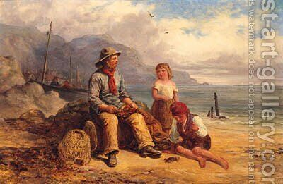 Mending The Nets by (after) Frederick Daniel Hardy - Reproduction Oil Painting