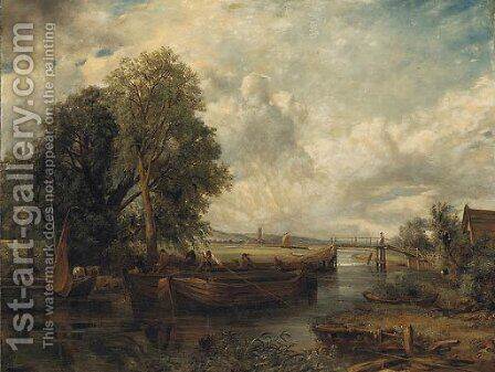 View on the Stour near Dedham by (after) Frederick Waters Watts - Reproduction Oil Painting