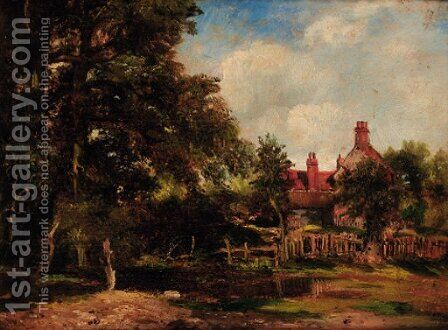 A cottage in a wooded landscape by (after) Frederick William Watts - Reproduction Oil Painting