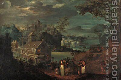 A mountain river landscape with elegant company on a path, a mill and a town beyond by (after) Frederik Van Valkenborch - Reproduction Oil Painting