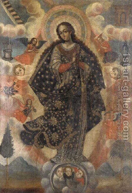 Virgen Inmaculada by (after) Gaspar Miguel De Berrio - Reproduction Oil Painting