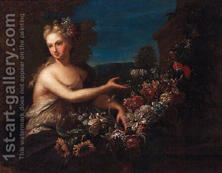 Portrait of a lady as Flora by (after) Gaspar-Pieter The Younger Verbruggen - Reproduction Oil Painting