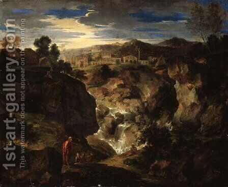A rocky landscape with figures by a waterfall and a town beyond by (after) Gaspard Dughet Poussin - Reproduction Oil Painting