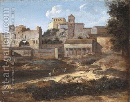 A capriccio view of classical buildings by (after) Gaspard Dughet - Reproduction Oil Painting