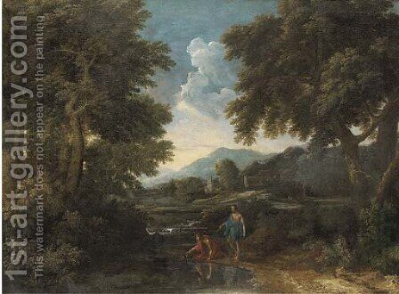 A wooded landscape with classical figures by a river by (after) Gaspard Dughet - Reproduction Oil Painting