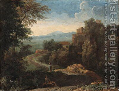 An Italianate landscape with figures by a path by (after) Gaspard Dughet Poussin - Reproduction Oil Painting