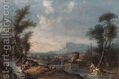 A classical landscape with a fisherman by (after) Gaspare Diziani - Reproduction Oil Painting