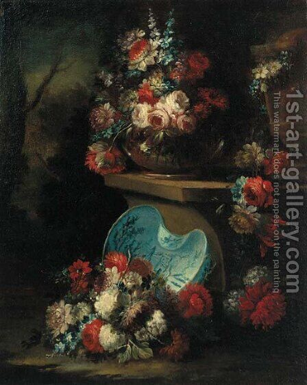 Roses, carnations and narcissi in a glass bowl on a stone ledge by (after) Gasparo Lopez - Reproduction Oil Painting