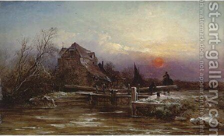A lock in winter, sunset by (after) George Augustus Williams - Reproduction Oil Painting
