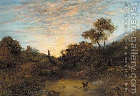 Figures by a stream at sunset by (after) George Augustus Williams - Reproduction Oil Painting