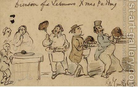Division of a labourer's xmas pudding by (after) Cruikshank, George - Reproduction Oil Painting