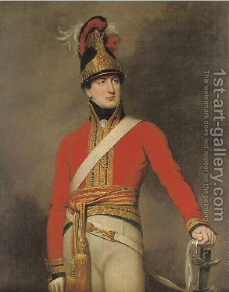 Portrait of an officer of the 1st King's Dragoon Guards, three-quarter-length, wearing the regiment's Waterloo helmet by (after) Dawe, George - Reproduction Oil Painting