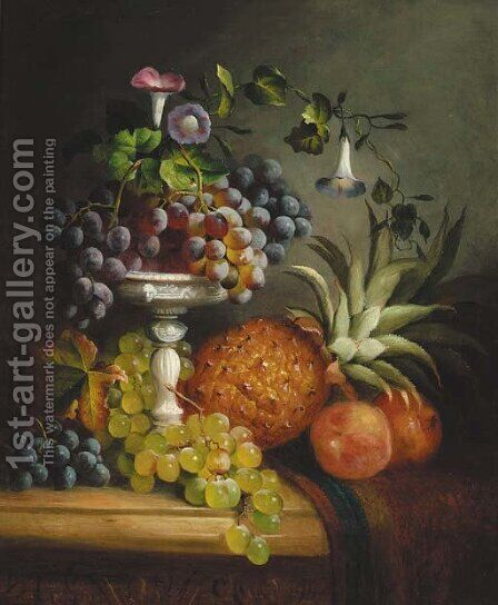 Grapes, a peach, a pomegranate, a pineapple, and a tazza, on a draped marble ledge by (after) George Lance - Reproduction Oil Painting