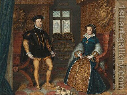 Portrait of Queen Mary I and Philip of Spain by (after) George Perfect Harding - Reproduction Oil Painting