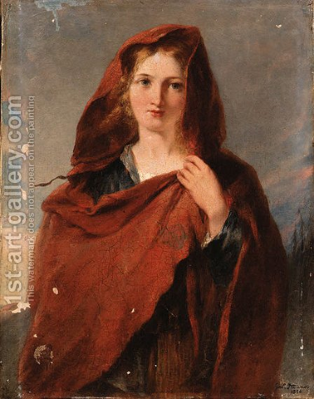 Woman in red shawl by (after) Girolamo Induno - Reproduction Oil Painting