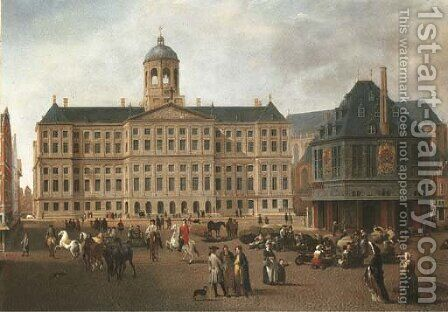 The Dam, Amsterdam, with the Town Hall and the Waag by (after) Gerrit Adriaensz Berckheyde - Reproduction Oil Painting