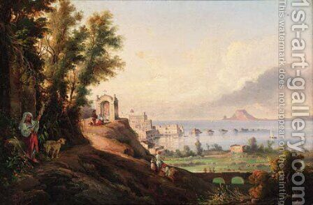 A veduta of Pozzuoli, and the gulf of Baia by (after) Giacinto Gigante - Reproduction Oil Painting
