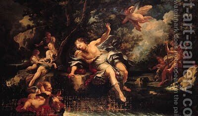 Apollo and Daphne by (after) Giacomo Del Po - Reproduction Oil Painting