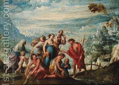 The Baptism of Christ by (after) Giovanni Andrea Donducci (see MASTELLETTA) - Reproduction Oil Painting