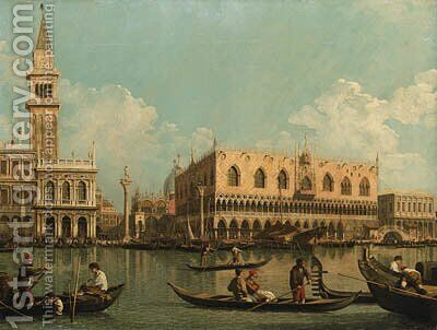 The Molo, Venice with the Doge's Palace and the Piazzetta from the Bacino di San Marco by (after) (Giovanni Antonio Canal) Canaletto - Reproduction Oil Painting