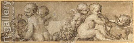 A frieze of putti with garlands and fruit by (after) (Giovanni Antonio De' Sacchis) Pordenone - Reproduction Oil Painting