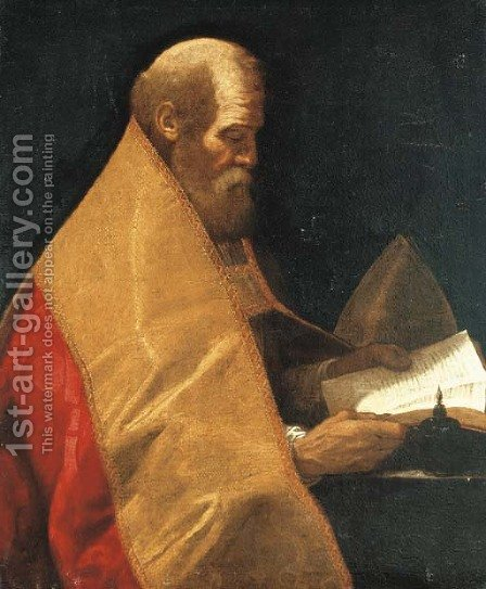 A bishop saint by (after) Giovanni Antonio (Lo Spadarino) Galli - Reproduction Oil Painting