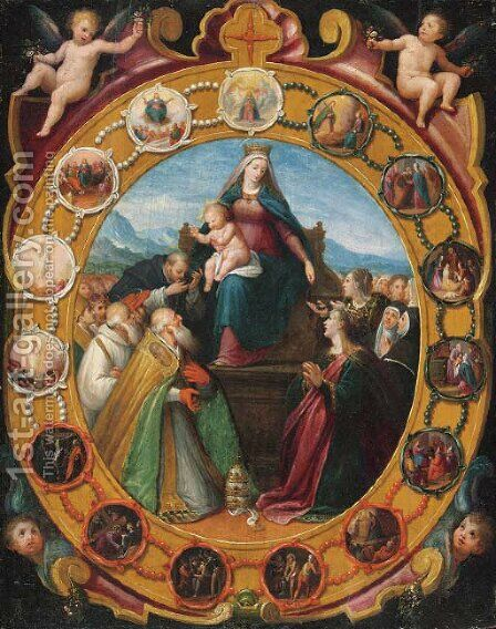 The Madonna of the Rosary by (after) Giovanni Balducci - Reproduction Oil Painting