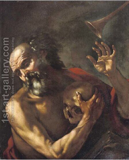 Saint Jerome by (after) Giovanni Battista Beinaschi - Reproduction Oil Painting