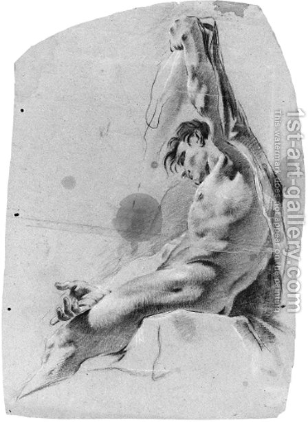 A seated nude in profile to the left raising his left arm by (after) Giovanni Battista Piazzetta - Reproduction Oil Painting
