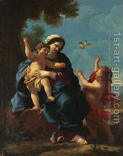 The Madonna and Child with the infant Saint John the Baptist by (after) Giovanni Francesco Romanelli - Reproduction Oil Painting