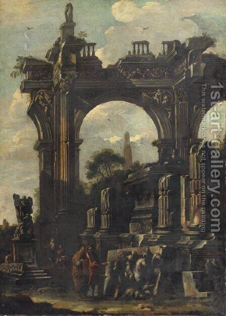 An architectural 'capriccio' with ancient ruins and two figures discussing a bass relief by (after) Giovanni Ghisolfi - Reproduction Oil Painting