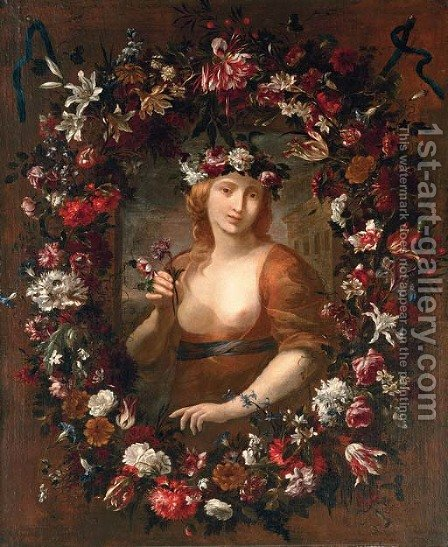 Portrait of a lady as Flora by (after) Giovanni Stanchi - Reproduction Oil Painting