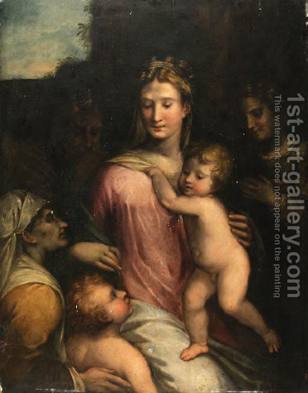Holy Family with the Infant Saint John the Baptist, by (after) Girolamo Da Trevisio Giovane - Reproduction Oil Painting