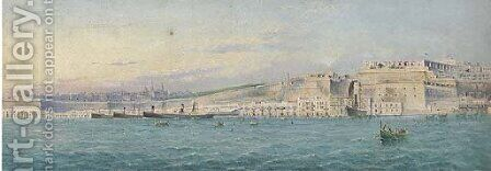 Merchant steamers lying at anchor in Grand Harbour, Valetta by (after) Girolamo Gianni - Reproduction Oil Painting