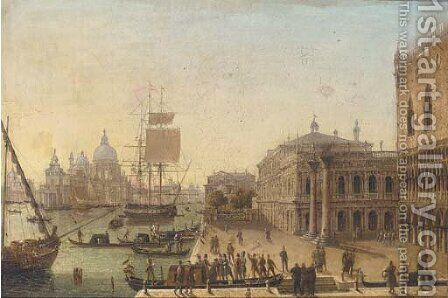 Bidding a fond farewell before the Doge's Palace, Venice by (after) Guiseppe Canella - Reproduction Oil Painting