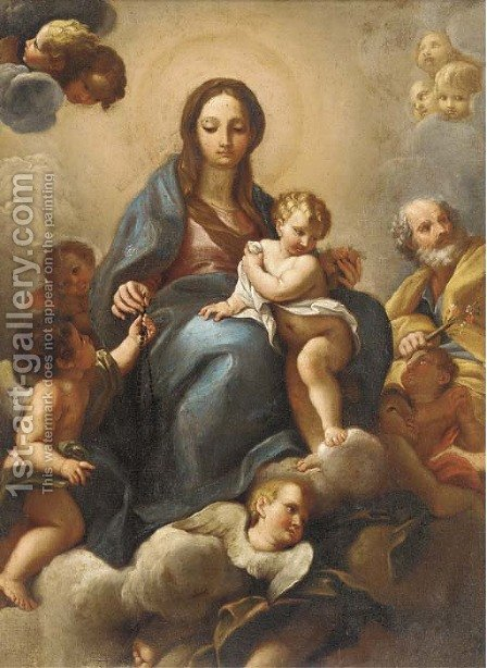 The Holy Family in Glory with putti by (after) Giuseppe Chiari - Reproduction Oil Painting